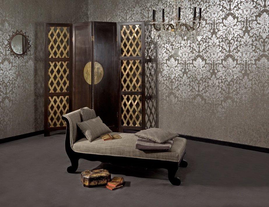 Ткань на стенах в интерьере в стиле модерн