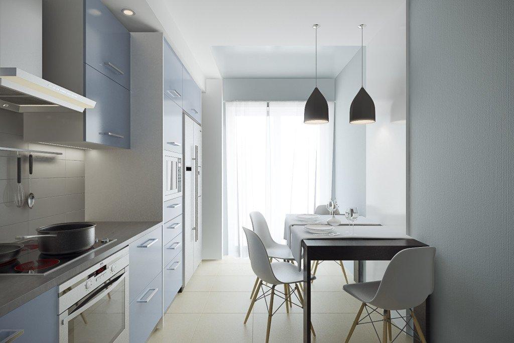 Расположение мебели на кухне 2 на 3