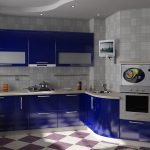 Синяя кухня с коробом в углу