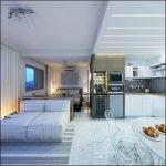 Комната совмещена с кухней