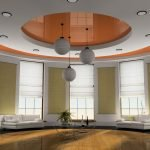 Бело-оранжевый натяжной потолок