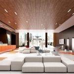 Комбинация дерева и гипсокартона в дизайне потолка
