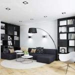 Черный и белый в дизайне гостиной