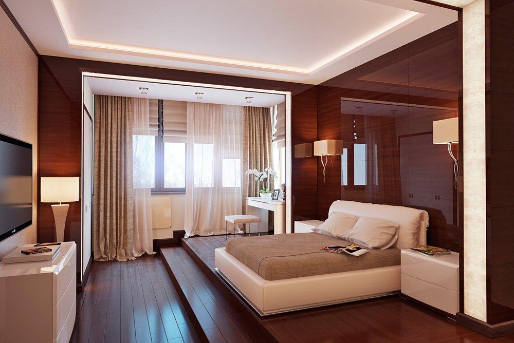 Зонирование спальни для взрослых