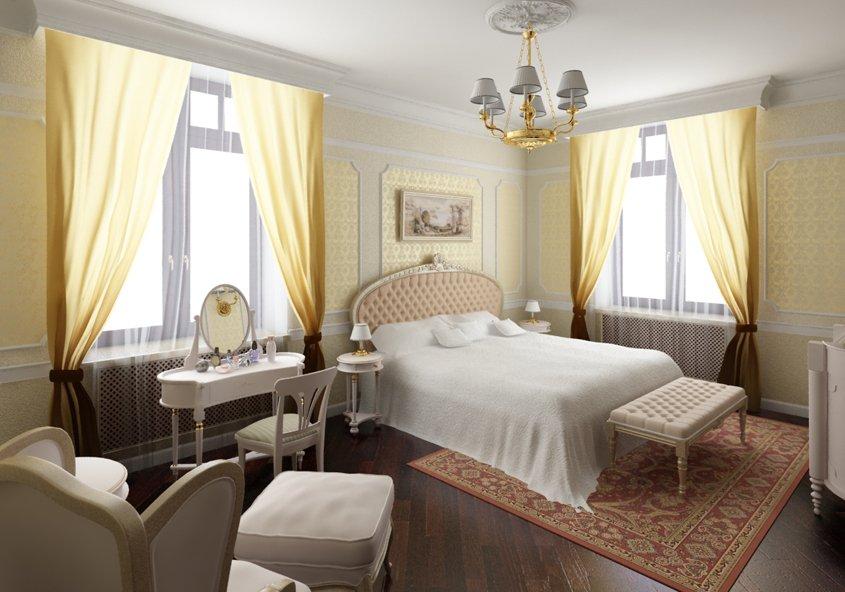 Освещение спальни с двумя окнами