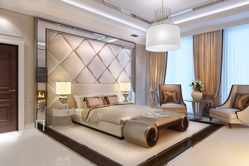Оформление двух окон в спальне