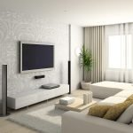 Телевизор на стене гостиной