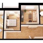 3D дизайн-проект трехкомнатной квартиры