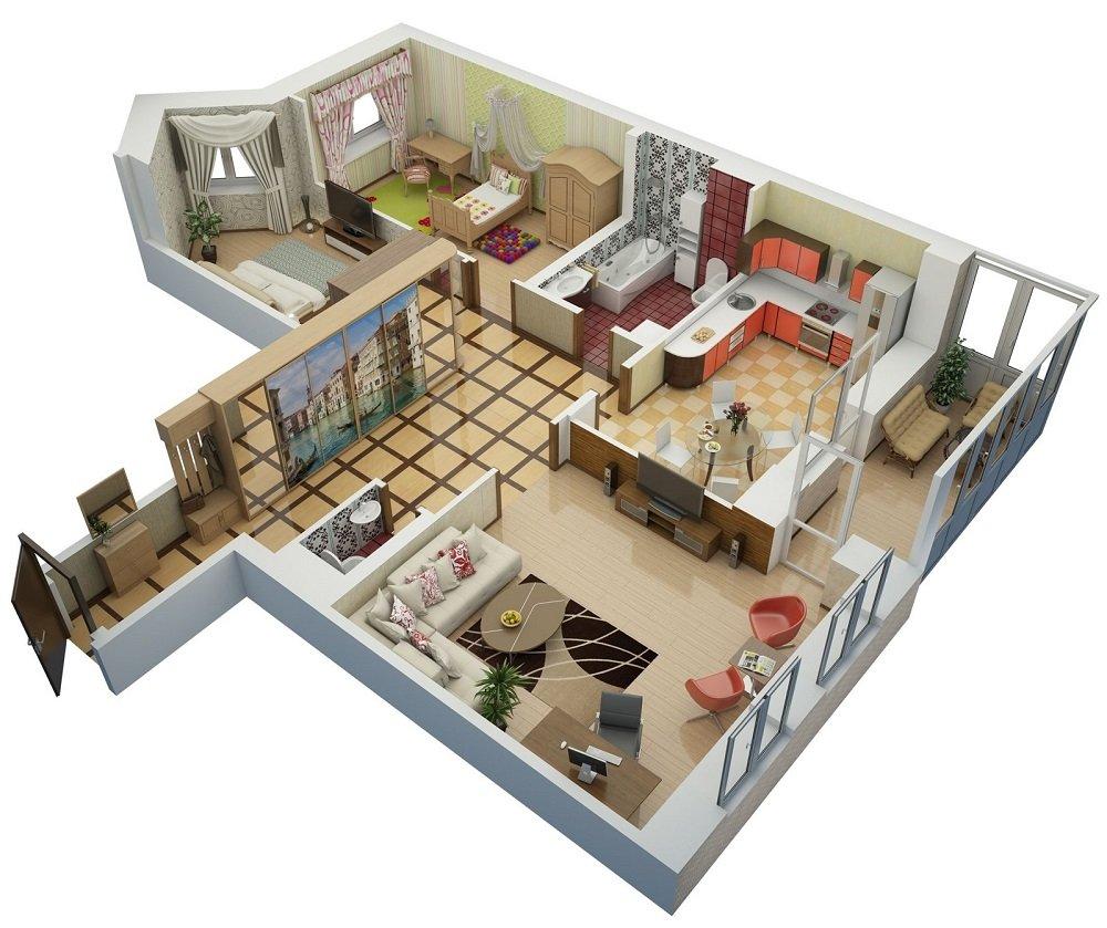 3D дизайн-проект трехкомнатной квартиры 80 кв.м