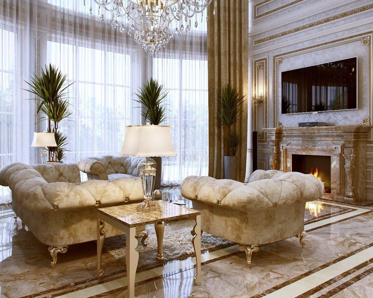 Мраморный пол в интерьере в дворцовом стиле