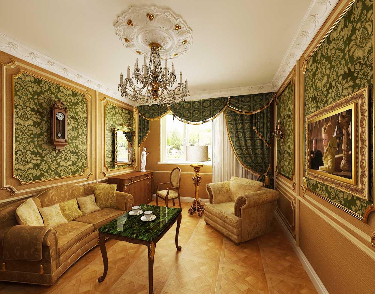 Светлый потолок в интерьере в дворцовом стиле