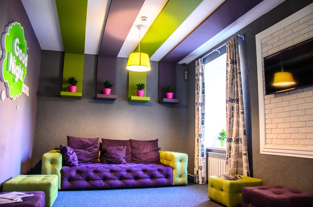 Фиолетово-зеленая гостиная