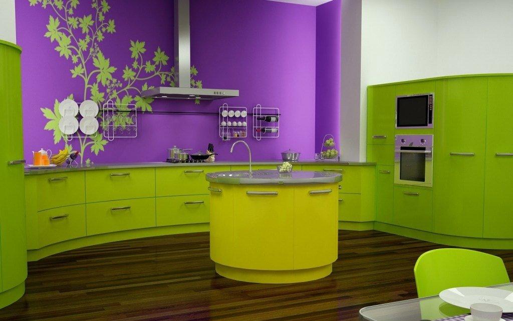 Фиолетово-зеленая кухня