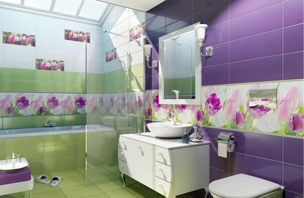 Фиолетово-зеленая ванная комната