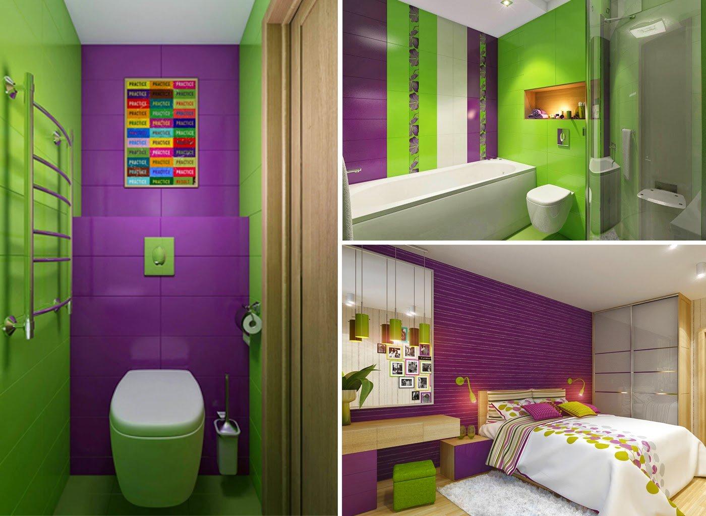 Фиолетово-зеленый в интерьере