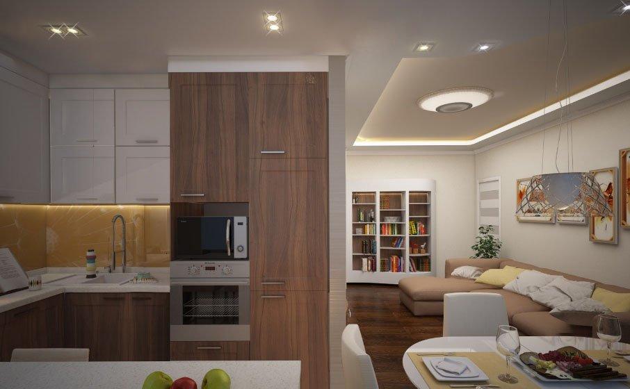 Интерьер кухни-гостиной в хрущевке