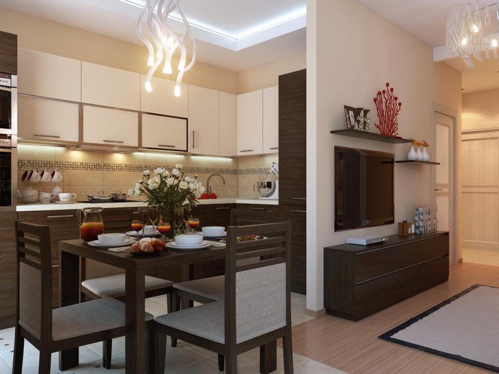 Кухня-гостиная в хрущевке в стиле модерн