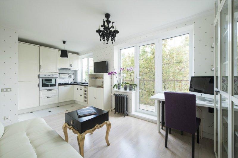 Светлая мебель в интерьере кухни-гостиной в хрущевке