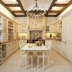 Светлая плитка на кухонном полу