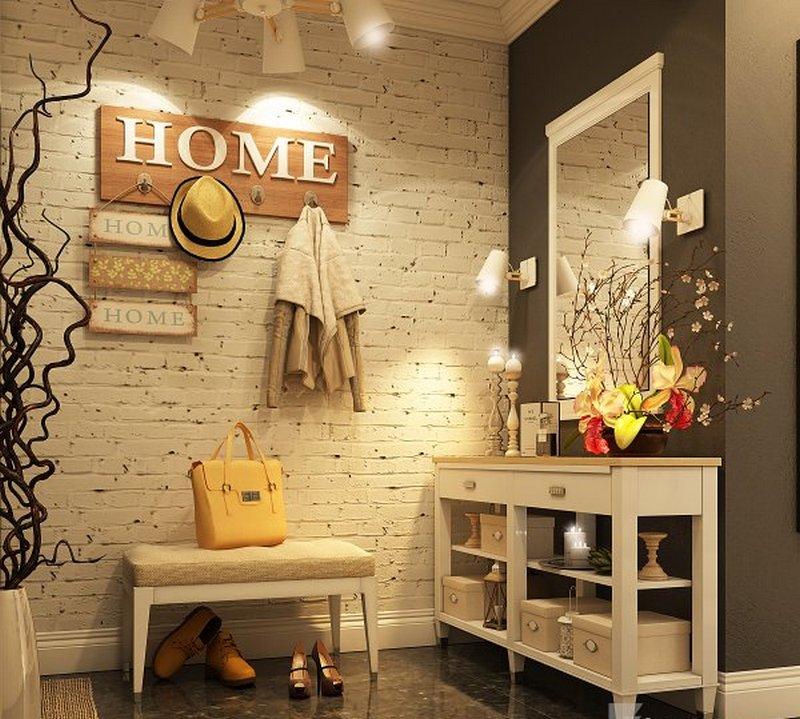 Светлые стены в прихожей в стиле лофт