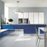 Синяя кухня в стиле минимализм