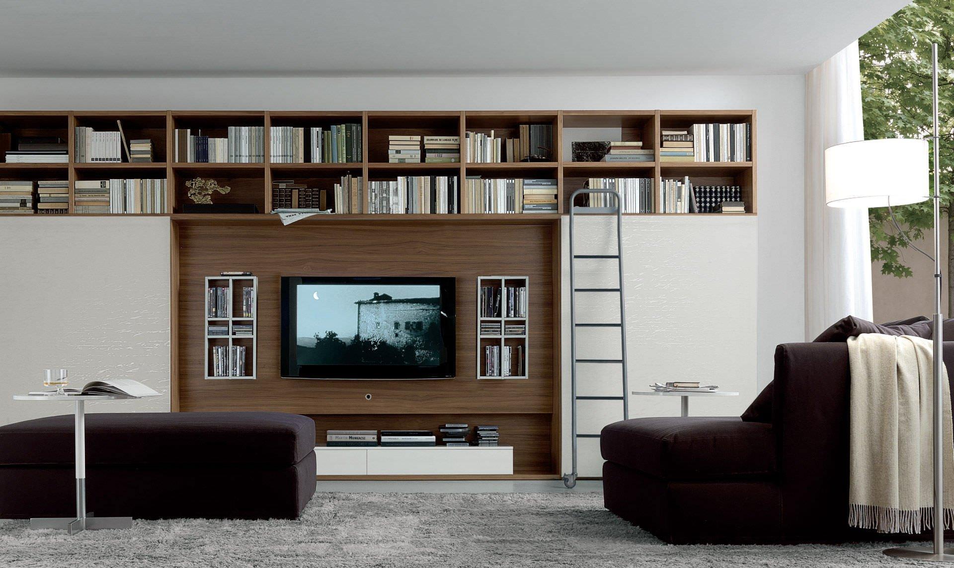 Книжные полки над телевизором