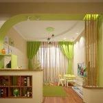 Комната в зелено-бежевых тонах