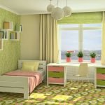 Зеленые шторы в детской для девочки