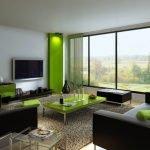 Коричневый и зеленый в дизайне интерьера гостиной