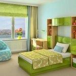Зеленая мебель в интерьере детской