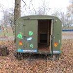 Зеленый грузовик-баня