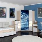 Синий интерьер комнаты