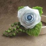 Белая роза из полимерной глины