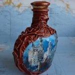 Оформление бутылки коньяка тканью