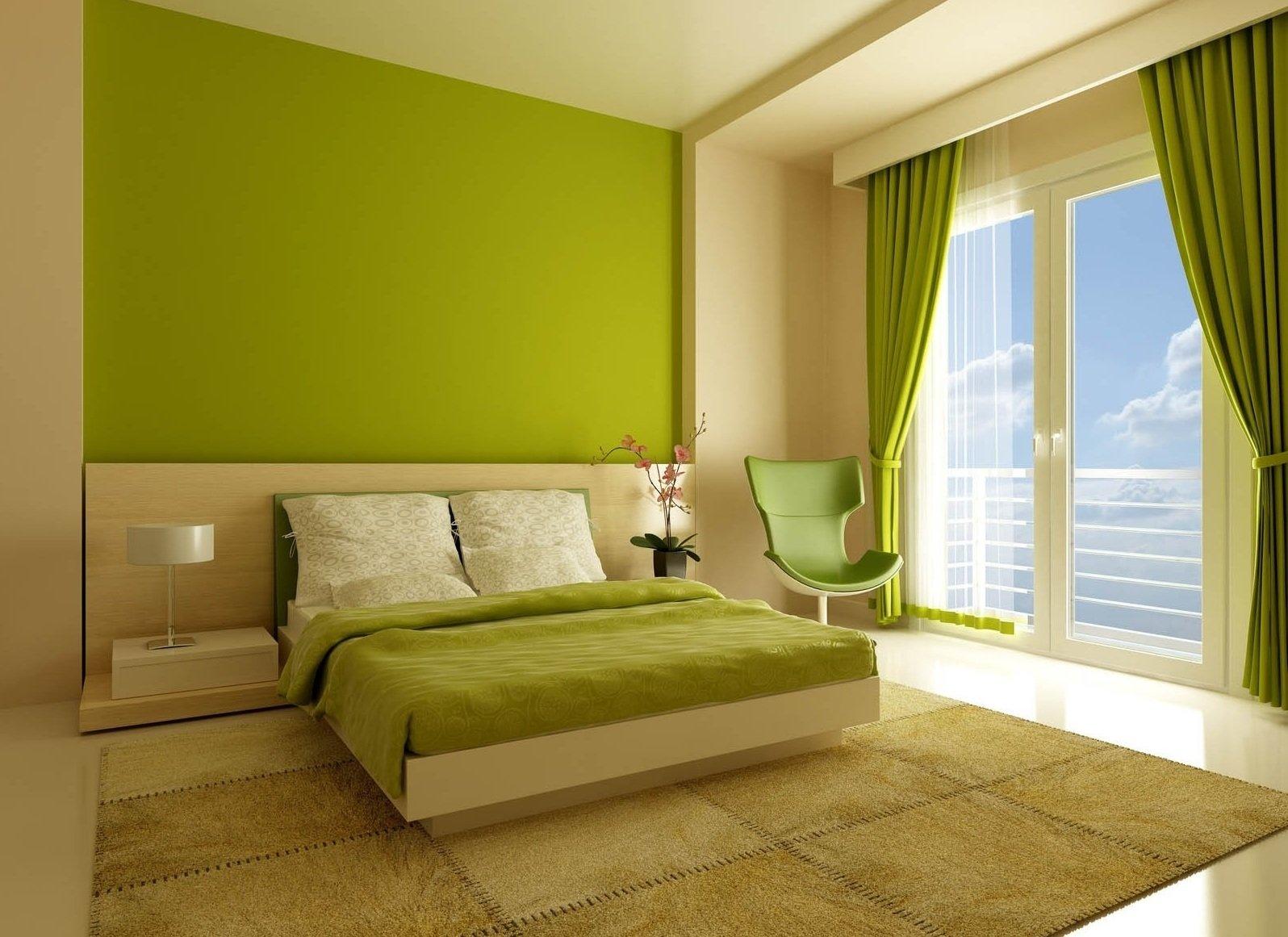 Зеленые стены в спальне