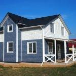Фасадный сайдинг синего и белого цвета
