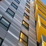 Алюминокомпозитные панели желтого и серого цвета
