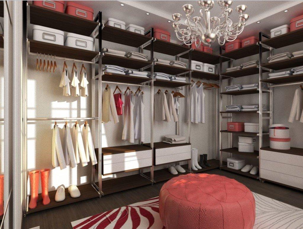 Дизайн гардеробной в черно-красном цвете