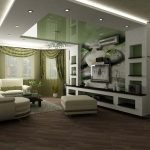 Натяжной зеленый потолок