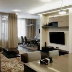 Бежевый и коричневый в дизайне гостиной