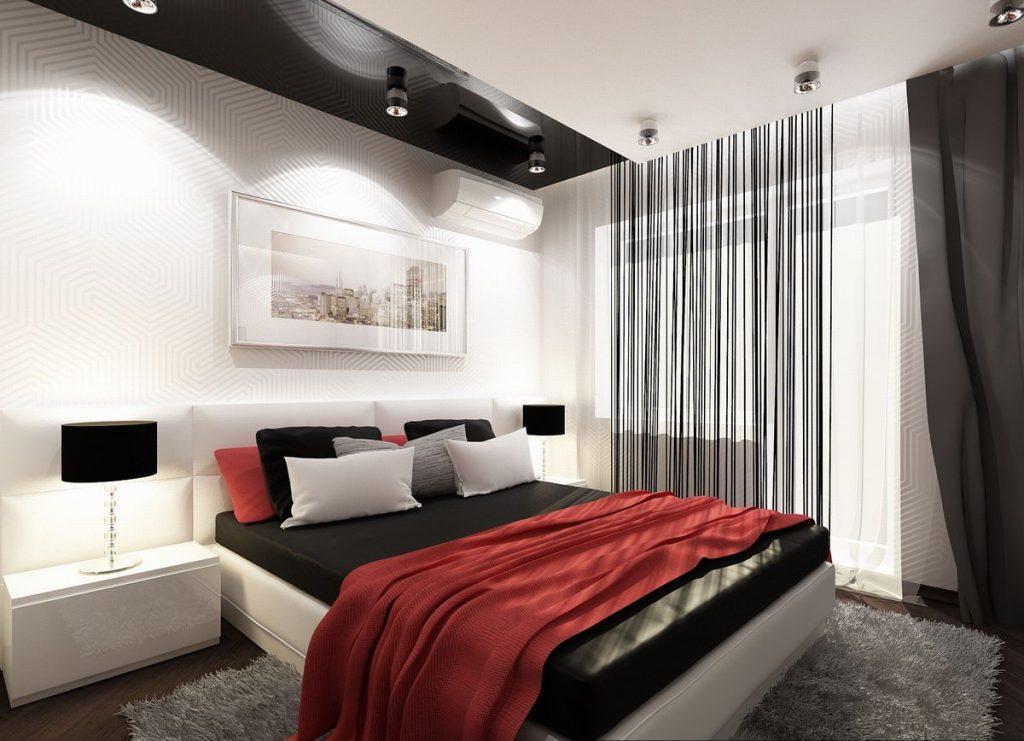 Сочетание черного, белого и красного в интерьере спальни