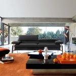 Оранжевый в дизайне гостиной