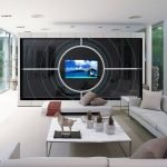 Большой телевизор на стене в зале