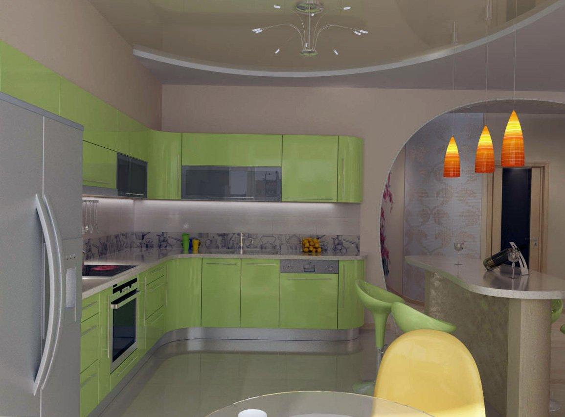 Светло-зеленая мебель для кухни