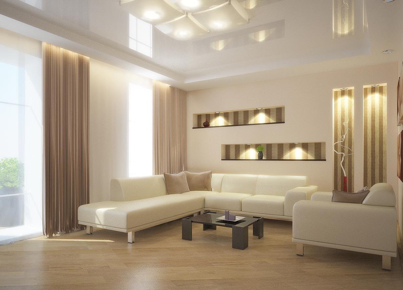 Дизайн гостиной с натяжным потолком