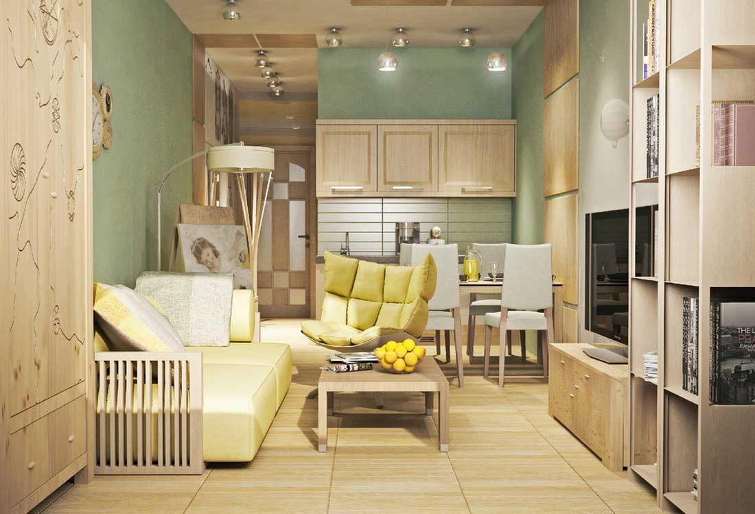 Зелено-бежевый дизайн интерьера