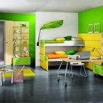 Желтый и зеленый в дизайне детской