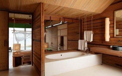 Дизайн ванной под дерево: 75 фото идей
