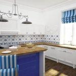 Полосатые роль-шторы на кухне
