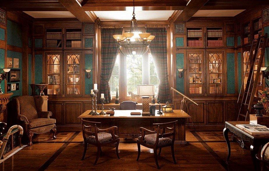 Дерево в интерьере кабинета в классическом стиле